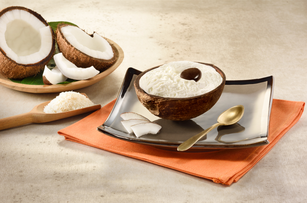 Coconut filled with Ice Cream